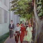 """4. Кизевальтер Вера """"Студенты"""" 1937 Бумага, акварель 44х36 Собрание семьи художника"""