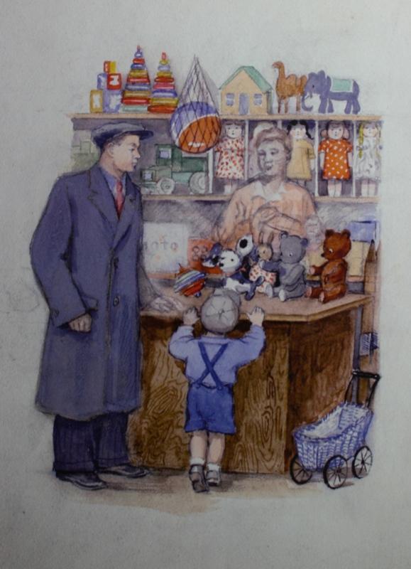 """5. Кизевальтер Вера """"Эскиз иллюстрации к книге В.Маяковского """"Конь-огонь"""". Росгизместпром""""  1951 Бумага, акварель, тушь, карандаш 28х20,5 Собрание семьи художника"""