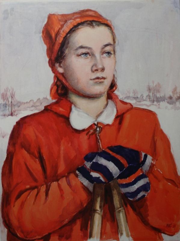 """6. Кизевальтер Вера """"Веви идет на лыжах"""" 1951 Бумага, акварель 43х33 Собрание семьи художника"""