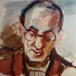 """8. Тоот Виктор """"Автопортрет"""" Конец 1940-х Бумага, акварель 13х10 Собрание семьи художника"""