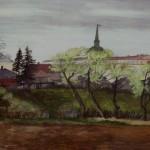 """9. Тоот Виктор """"Весна в Александрове"""" 1947 Бумага, акварель 26,1х37,6 Собрание семьи художника"""