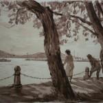 """9. Кизевальтер Вера """"На Балатоне"""" 1960 Бумага, акварель 29,5х41,5 Собрание семьи художника"""