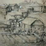 """10. Тоот Виктор """"Домишки. Александров"""" 1947 Бумага, карандаш, пастель 27х37 Собрание семьи художника"""
