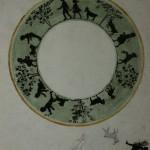 """15. Тоот Виктор """"Эскиз блюдца"""" 1953 Бумага, тушь, акварель, карандаш 22,9х18,1 Собрание семьи художника"""