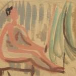 """Чернышев Б.П. """"Модель на фоне вертикальных полос"""" 1959"""
