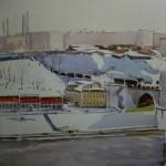 """16. Кизевальтер Вера """"Вид из окна мастерской на Фрунзенской набережной. Эскиз"""" 1964 Бумага, акварель 33х40 Собрание семьи художника"""