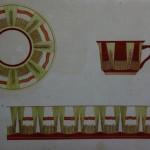 """17. Тоот Виктор """"Эскиз чашки и блюдца """"Золотой колосс"""" 1953 Бумага, акварель 27,7х38,8 Собрание семьи художника"""