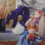"""17. Кизевальтер Вера """"Натюрморт с куклами"""" 1964 Бумага, акварель 43х33 Собрание семьи художника"""