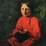 """98. Венецианов Алексей """"Мальчик в красной рубашке"""" 1845 Холст, масло 75х60 Челябинская картинная галерея"""