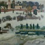 """11. Фридман Карл """"К весне. Лед рубят"""" 1970 Холст, масло 105х153"""