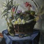 """1. Телепнев Владимир """"Корзина цветов"""" 1940 Холст, масло 75х59,5"""