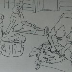 "18. Фридман Карл ""Стрижка овец"" 1965 Бумага, карандаш 42х57"