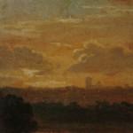 """4. Чернецов Г.Г. """"Вид на Ревель при заходе солнца"""" 1827 Бумага на картоне, масло 9,3х16,5 Государственный Русский музей"""