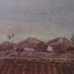 """5. Чернышев Борис """"Поле, поселок, сопки"""" 1945-1946 Бумага, темпера 26,7х45,2"""