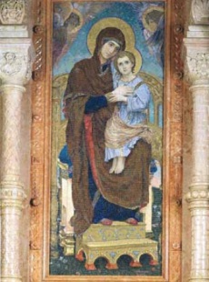 "Виктор Васнецов ""Богоматерь с Младенцем на троне"" Мозаика храма Воскресения Христова. Санкт-Петербург."