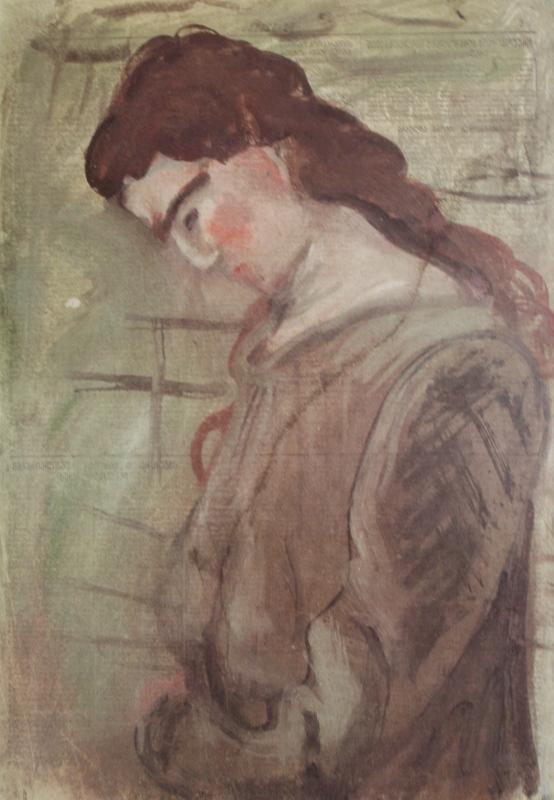 """7. Чернышев Борис """"Цхалтубо. Женский портрет в профиль"""" 1950 Бумага, темпера 59,5х41,5"""