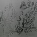 """7. Гурвич Борис """"Пёс, рыба и фабричная труба"""" Около 1925 Бумага, карандаш 15,2х14,7 Государственный Русский музей"""