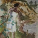 """8. Чернышев Борис """"Чивирево. В белом платье"""" 1960 Бумага, темпера 30х21"""