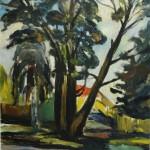 """8. Телепнев Владимир """"Большие деревья"""" 1970 Оргалит, масло 70х59,5"""