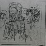 "10. Гурвич Борис ""Рынок"" 1927 Бумага, карандаш 12,5х12,5 Государственный Русский музей"