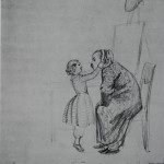 """10. Федотов Павел """"Ах, папочка, как к тебе идет чепчик. Автошарж"""" 1848-1849 Бумага, графитный карандаш 31,2х21,4 Государственный Русский музей"""