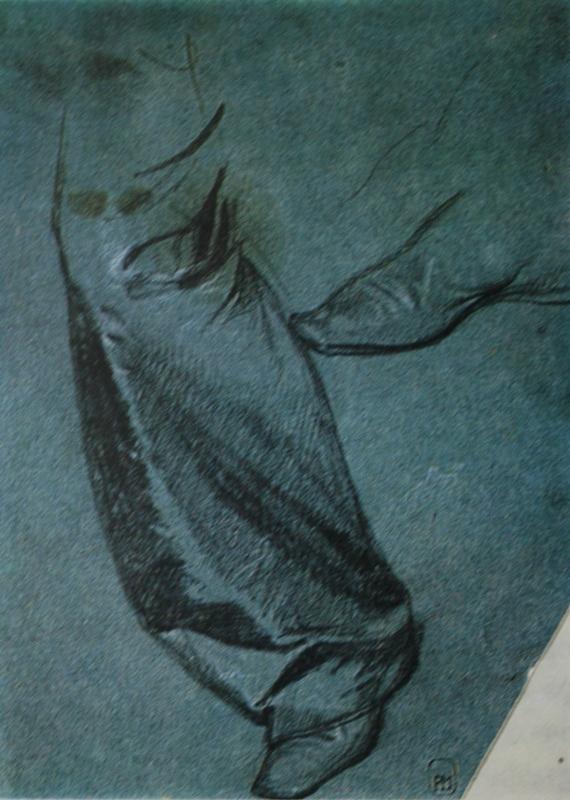 """11. Федотов Павел """"Правая нога в шелковых шальварах. Ботинок. Этюд к картине """"Не в пору гость"""" 1849 Бумага, итальянский карандаш, мел 18,1х13,3 Государственный Русский музей"""