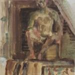 """14. Чернышев Борис """"Мужская модель"""" Конец 1950-х Бумага, темпера, акварель 59х55,7"""