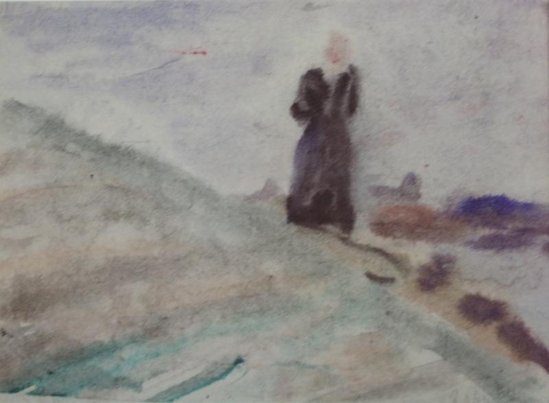 "16. Чернышев Борис ""Чивирево. На берегу"" 1960 Бумага, акварель 21х30"