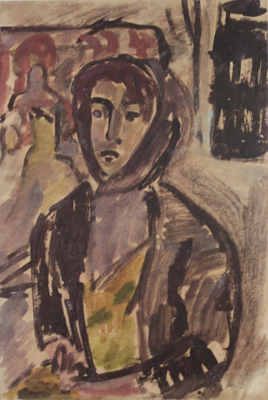 """17. Чернышев Борис """"Портрет Любы"""" 1963-1964 Бумага, темпера, акварель 68,2х44,5"""
