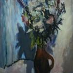 """17. Телепнев Владимир """"Цветы в коричневом кувшине"""" 1975 Оргалит, масло 85х65"""