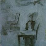 """20. Федотов Павел """"Игрок, сидящий за столом. Стул. Мужские ноги. Этюды к картине """"Игроки"""" 1851 Бумага, итальянский карандаш 39,4х31,3 Государственный Русский музей"""
