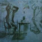 """21. Федотов Павел """"Игрок, сжимающий голову руками. Этюд к картине """"Игроки"""" 1851 Бумага, итальянский и цветной карандаши 32х40 Государственный Русский музей"""