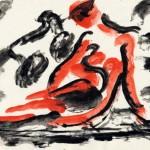"""26. Чернышев Борис """"Модель. Серия 124"""" 1968 Бумага, темпера 20,3х28,8"""