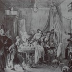 """28. Федотов Павел """"Кончина Фидельки"""" 1844 Бумага на картоне, сепия, кисть, перо 33,6х47,7 Государственная Третьяковская галерея"""