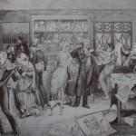 """30. Федотов Павел """"Магазин"""" 1844 Бумага на картоне, сепия, кисть, перо, белила 32,2х50,9 Государственная Третьяковская галерея"""