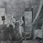"""37. Федотов Павел """"Домашний вор (Муж-вор)"""" Около 1851 Бумага, итальянский карандаш 26х29,5 Государственный Русский музей"""