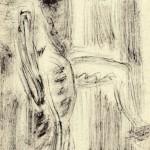 """38. Чернышев Борис """"Модель"""" 1965 Бумага, тушь, кисть 30,3х21"""