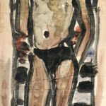"46. Чернышев Борис ""Мужская модель"" Начало 1960-х Бумага на холсте, темпера 97,5х43,7"