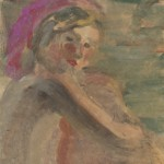 "49. Чернышев Борис ""Маша"" 1955 Бумага, темпера 41,2х39,3"
