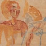 """55. Чернышев Борис """"Копия грузинской фрески"""" 1965 Бумага папиросная, акварель, темпера 58,7х98"""