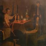 """60. Федотов Павел """"Офицер и денщик"""" 1850-1851 Холст, масло 28х24 Государственный Русский музей"""