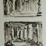 """Тамара Старженецкая """"Судилище. Эскиз декорации к опере Дж.Верди """"Аида"""" 1951"""