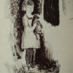 """5. Игорь Поляков """"Девочка с собакой"""" Начало 1930-х Бумага, тушь, перо, кисть 30,7х21,8"""