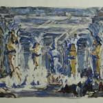 """Тамара Старженецкая """"Вариант 3 картины 1 акта. Эскиз декорации к опере Дж.Верди """"Аида"""" 1951"""