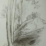 """20. Игорь Поляков """"В парке"""" 1930-е Бумага, карандаш 36х27"""