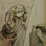 """2. Максимов Александр """"Ем яблоко и рисую"""" 1961 Бумага, черный карандаш, гуашь Собрание А.Лихтенфельда"""