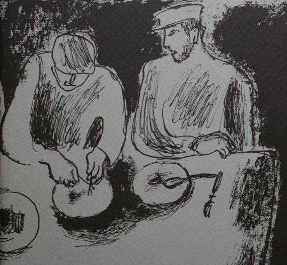 """Игорь Поляков """"За столом"""" (фрагмент). Начало 1930-х"""
