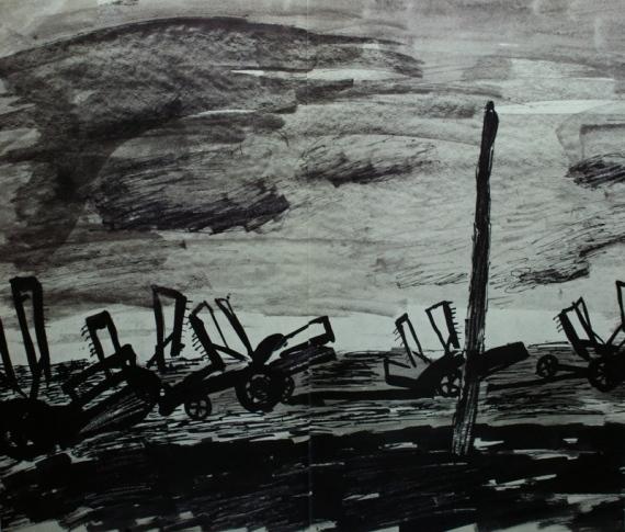 """Игорь Поляков """"В поле"""" (фрагмент). Начало 1930-х"""