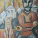 "10. Евгений Расторгуев ""Мужик на огороде"" 1973 Холст, масло 80х60"