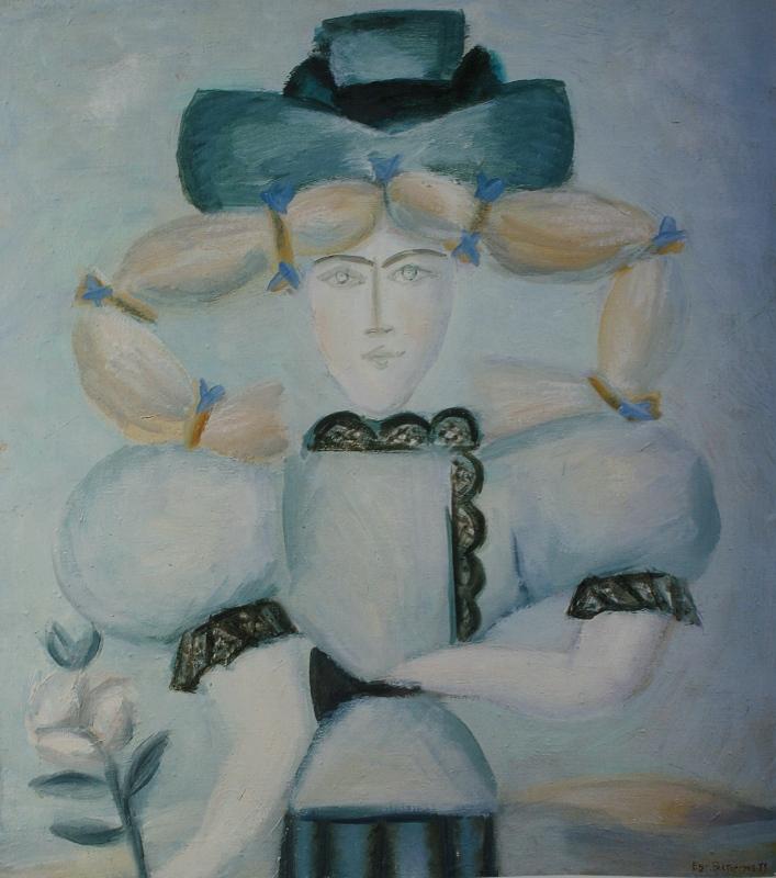 "12. Евгений Расторгуев ""Дама с цветком"" 1979 Холст, масло 72х65"